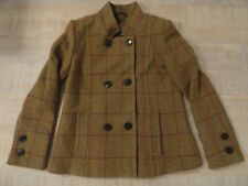 Classic Vintage Joules Tweed Coat Jacket Green Country Wool Plaid US 8 Med