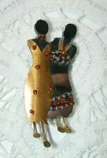 Retired Liztech Soul Sisters Pin Brooch Handcrafted Artisan Wire Beads Mirror
