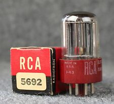 (1) NOS RCA Red Base 5692 6SN7 Triple Mica Black Plate Tube!