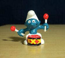 Smurfs Drummer Smurf Vintage Schleich Toy PVC Display Figure Drum Music 20009