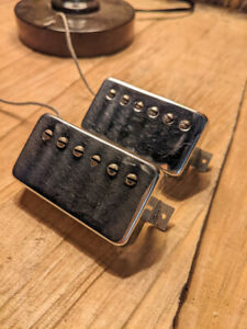 """Gibson  (Pair) of Vintage 70's Gibson PAT NO """"T-Top"""" Pickups with Chrome Covers"""