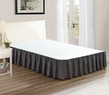 """Chezmoi Collection Solid Gray Ruffled 15"""" Drop Bed skirt Dust Ruffle, Full"""