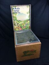R.M. & Co Tea Tin Wood Box Antique Made In Japan