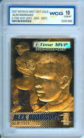 2007 ALEX RODRIGUEZ NY YANKEES 3-TIME MVP 23K GOLD SCULPTED CARD - GEM MINT 10