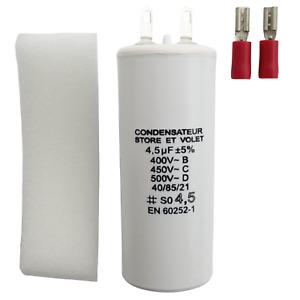Condensateur 4.5 uF (4,5 µF) pour moteur Becker, M4 Group ou Nice de volet store
