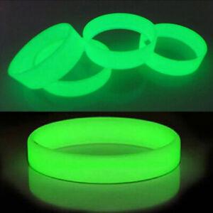 Luminous Silicone Rubber Wristband Bracelet Glow In Dark Bangle Colorful Gift CA