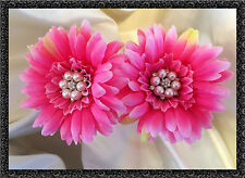 Qualité soie gerbera fleur x2 avec jeweled centre rose chaud mariages/bouquets