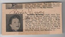 AUTOGRAPHED PATRICE WYMORE NEWSPAPER CLIPPING - PSA-DNA