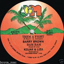 "Joe Gibbs Music 12"": Barry Brown, Kojak & Liza-Them A Fight (HEAR) Roots le reggae"