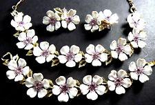 Vintage Lisner Necklace Bracelet Earrings Set White Flowers Amethyst Rhinestones