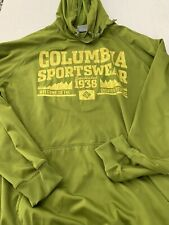 Columbia Sportswear Company Logo Spellout Green Pullover Hoodie Mens LARGE