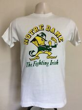 Vtg 70s Champion Blue Bar Notre Dame Fighting Irish T-Shirt Xs White College