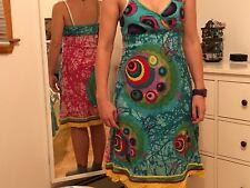 Colorful dress women brand Desigual. Size 38 (Medium). Turquoise-pink Satin.