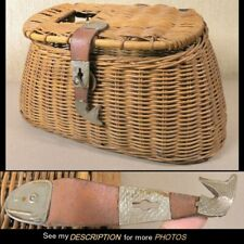 Great Antique Wicker Fishing Creel with Fish Shaped Fastening Tab
