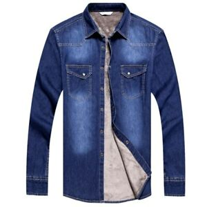 Mens  Winter Jeans Shirt Warm Fleece Lined Velvet Denim Shirts Bottoming Shirt
