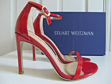 NIB $419 Stuart Weitzman Nudistsong Ankle Strap Sandals Red Patent sz 7.5 Nudist