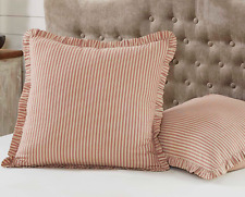 Red Ticking Stripe Euro Sham : Country Vintage Stripes Kendra Pillow Cover