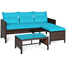 Patiojoy 3PCS Patio Rattan Sofa Set Wicker Sectional Conversation Furniture Set