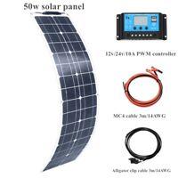 50W 16V flexible Solar Panel kit Solar Cell MC4 Cable+10A Controller 12v battery