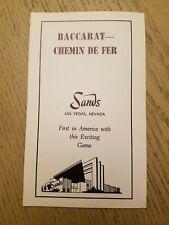 RARE 1960s Sands Casino Hotel Las Vegas NV Chemin de Fer Baccarat Rules Card Ad