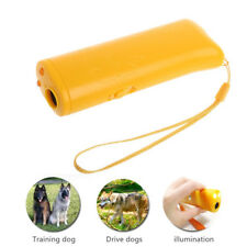 Pet Dog Ultrasonic Repeller Trainer LED Anti Barking Flashlight Device US 3 in 1