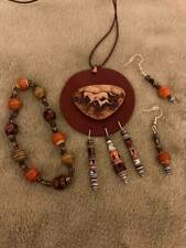 cord/native art leather horse pendant wood beads earring/bead bracelet