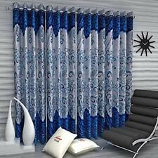 New 4 Piece Eyelet Door Curtain Set - 7 feet Blue