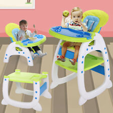3 in 1 Baby High Chair Convertible Play  Booster Toddler Feeding Blue-green