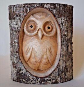 Half Log Hand Carved Owl Wood Tree Stump Bird
