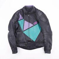 Vintage GARA SPORT Black & Green Biker Racing Leather Jacket Mens Size Medium