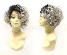 Pre-Cut Lace Front Short Curly Gray w/ Dark Roots Wig Heat Resistant Side Part