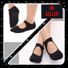 Ladies Womens Pilates BLACK Non-Slip Yoga Ballet Dance Barre Socks FAST FREE P&P