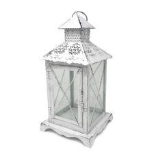 White Victorian Style Decorative Metal Lantern, 11-1/2-Inch