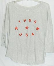 GAP GRAY RED LONG SLEEVE TOP S WOMANS T-SHIRT TEE TUNIC STRETCH COTTON 1969 USA