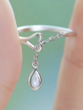 925 silver tear drop dainty design small adjustable ring jewellery present gift