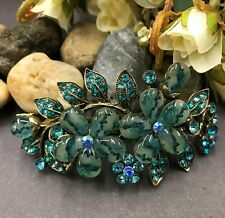 Antique Tone Flower Rhinestone Blue Color Hair Clip Barrette HA9028 dec