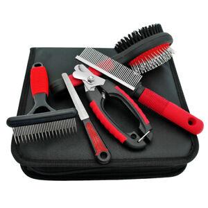 Pet Dog Grooming Kit Comb+Nail Clipper+Scissor+Slicker+Bristle Brush Set Tool