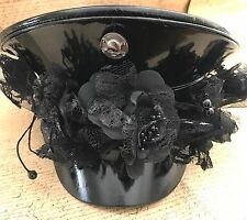 SDL Military Hat With 3D Black Silk Flowers And Skull In Size 57cm