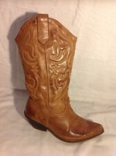 Ladies Brown Mid Calf Leather Boots Size 39