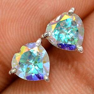 Heart - Mercury Mystic Topaz 925 Sterling Silver Earring - Stud Jewelry BE61435
