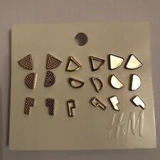 Gold Coloured Earrings Set Of 9 Pairs Studs H&M Bnwt