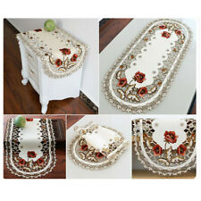 Vintage Dining Table Runner Placemat Embroidered Coffee Pattern Home Decor Cover