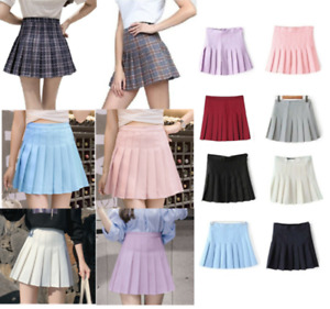 Women High Waist Pleated Casual Tennis Style Skater Mini Skirt Check Short Dress