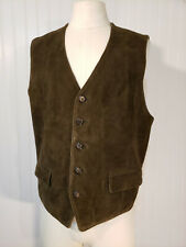 The Gap Suede Vest Waistcoat Knit Sweater Back Wool Leather Men's L Button Up