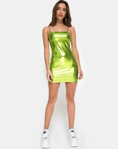 MOTEL ROCKS Selah Bodycon Dress In Metallic Green in Size M