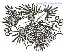 Pine Cone and Holly Small Wood Mounted Rubber Stamp NORTHWOODS C2905 New