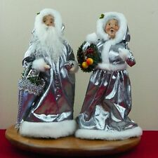 Byers Choice Carolers Father Christmas Silver Mrs. Claus 25th Anniversary Signed