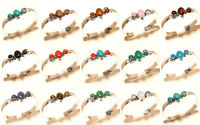 Amber Mix Gemstone Silver Overlay Free Postage Cuff Fashion Jewelry 15Pcs