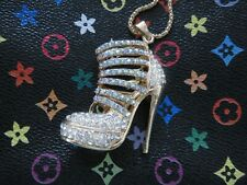 GP Straps & Clear AB Rhinestone Betsey High Heel Platform Shoe Pendant Necklace