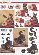 Feuille 3D à découper A4 - 777.283 Chat et fleurs - Decoupage Cat and Flower
